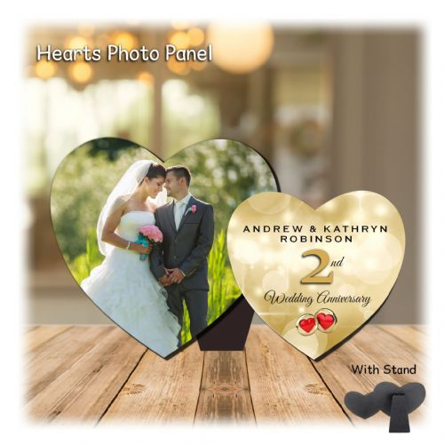 Personalised MDF Hearts Photo Wood Panel Print N9 - ANY YEAR  Wedding Anniversary Keepsake Gift